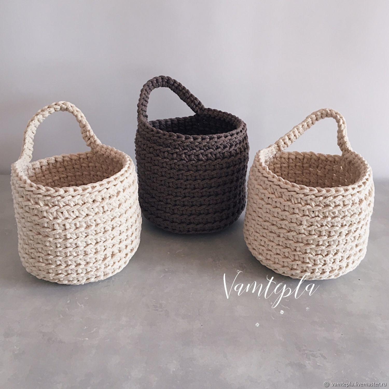 Knitted cotton basket. hanging basket, Basket, St. Petersburg,  Фото №1