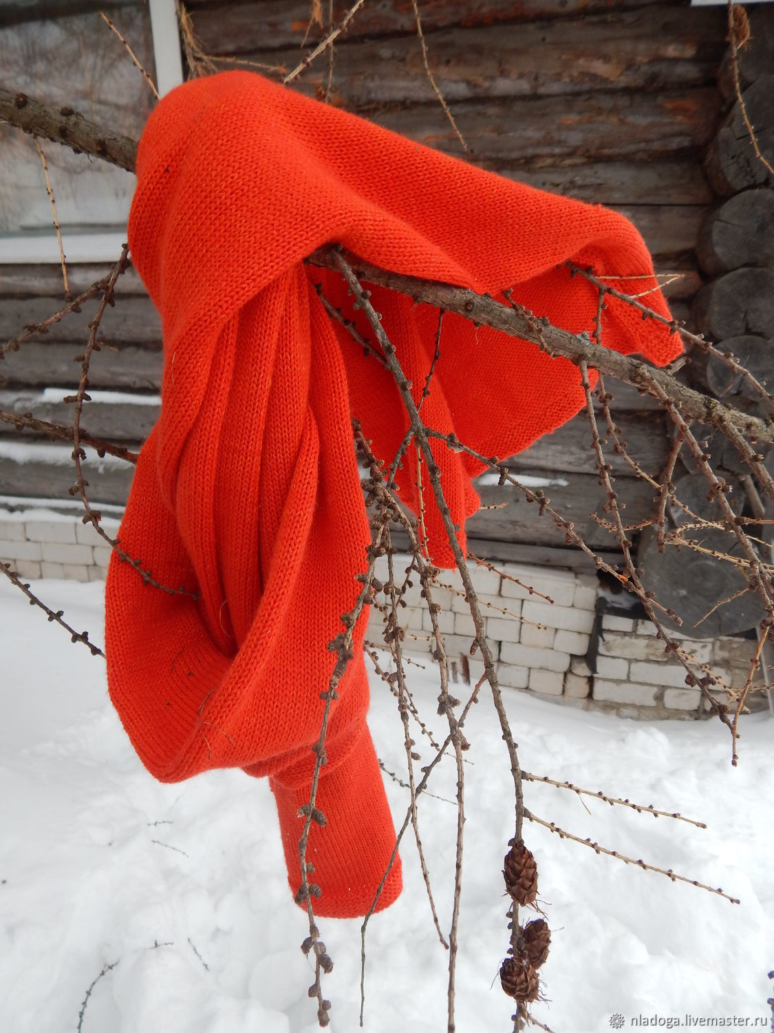 Knitted red scarf Unisex, Scarves, Kirov,  Фото №1