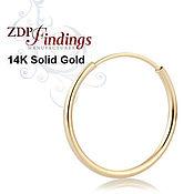 4 размера Пара золотых 14К  серег  колец C200100V