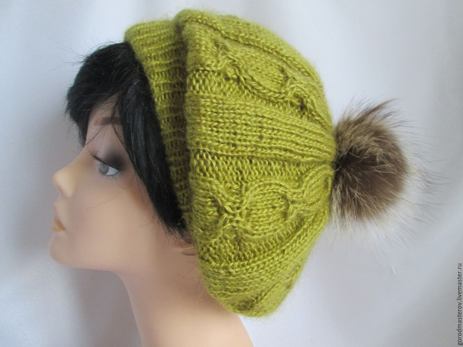 Takes olive . Beret Angora fine. Beret knitted, Berets, Moscow,  Фото №1