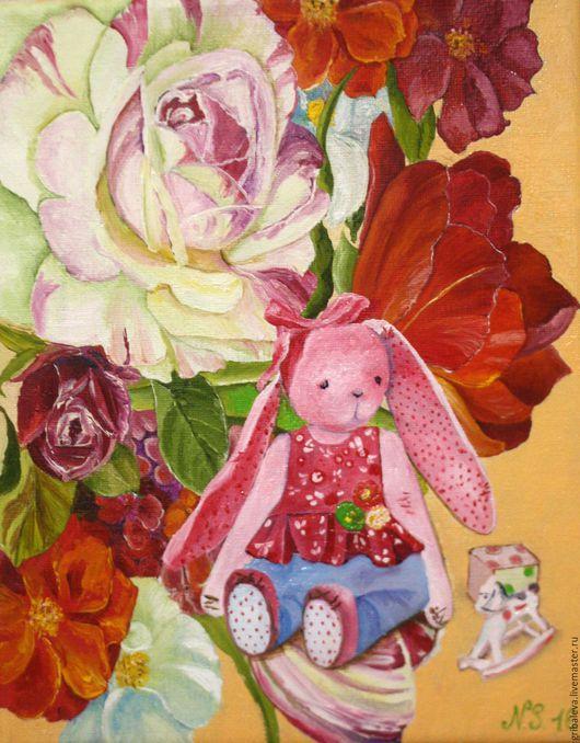 Натюрморт ручной работы. Ярмарка Мастеров - ручная работа. Купить Картина маслом. Цветочная зайка 25 на30 см, нежная картина в детскую. Handmade.