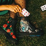Обувь ручной работы handmade. Livemaster - original item Dr Martens boots with Alice in Wonderland print. painted shoes.. Handmade.