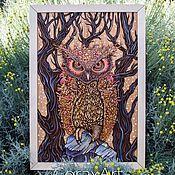 "Картины и панно handmade. Livemaster - original item Wood Watercolor Wall Art "" Owl "", Bird Art,Modern Art,Wall Panel. Handmade."