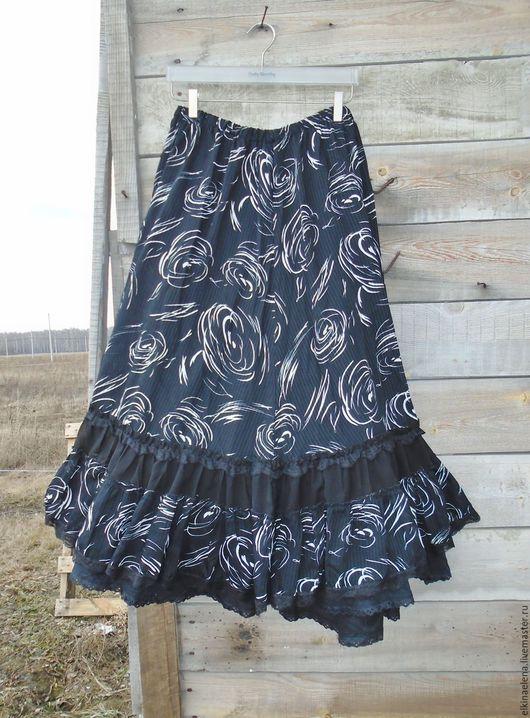 Юбки ручной работы. Ярмарка Мастеров - ручная работа. Купить Шифоновая черно-белая  юбка в стиле бохо на лето.. Handmade.