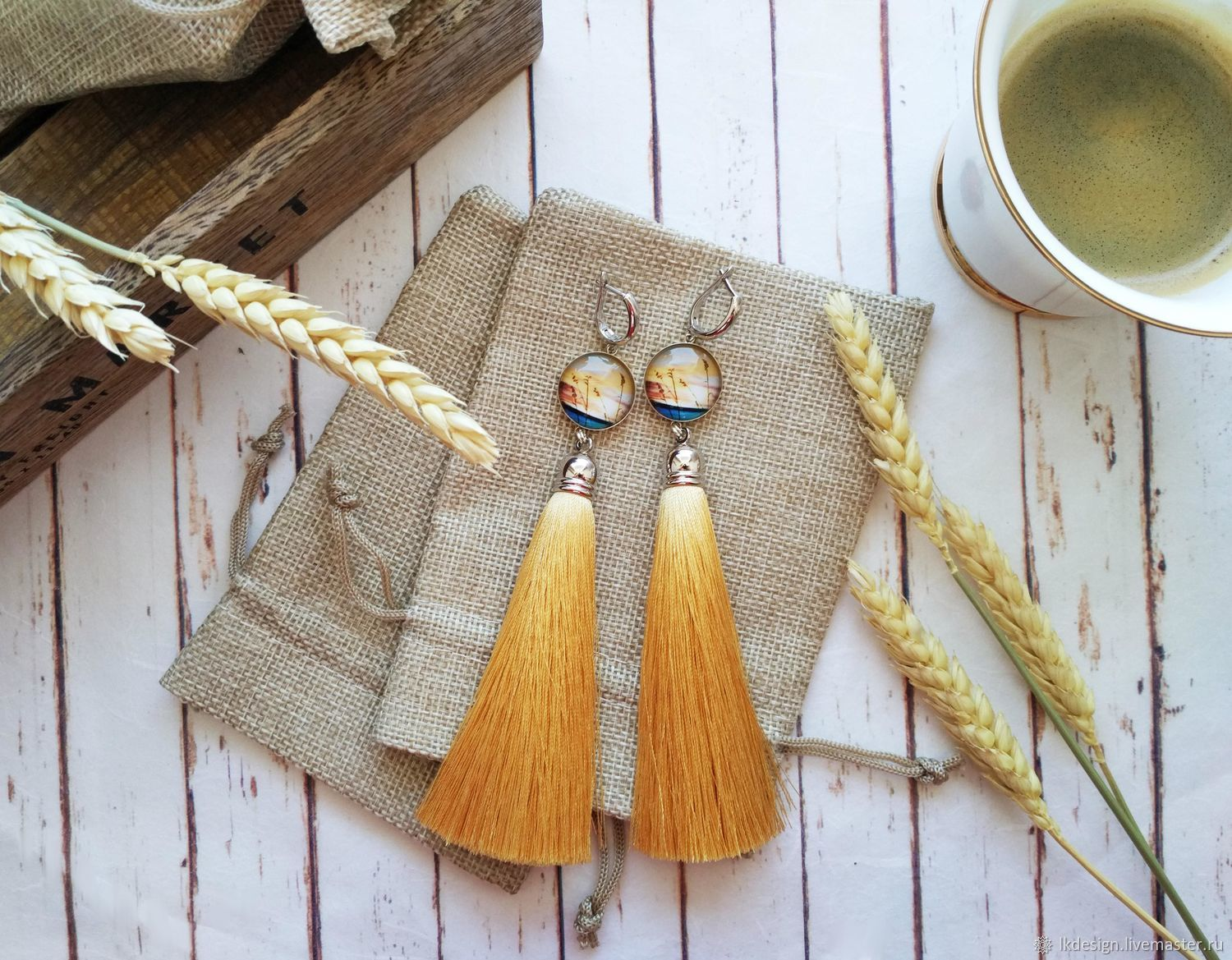 Earrings with silk tassels evening of a hot day, Earrings, Moscow, Фото №1