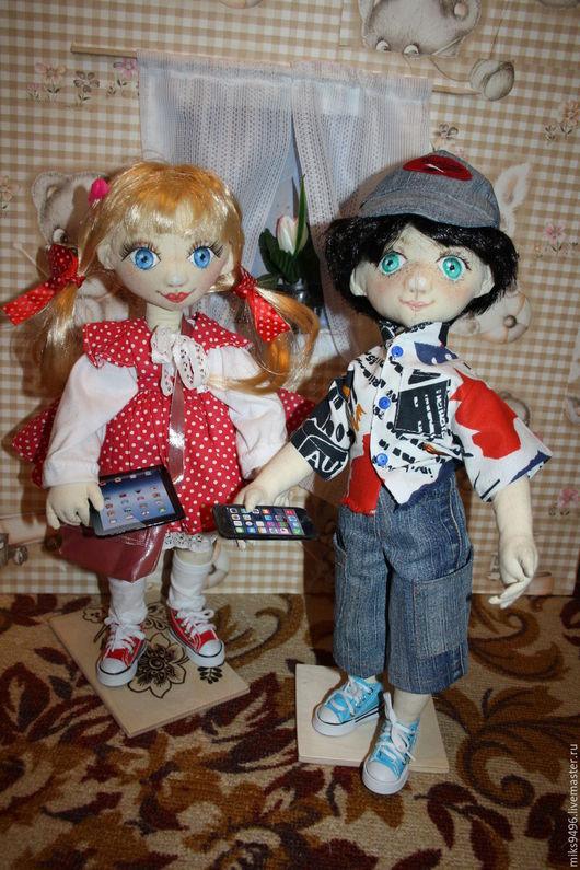 Коллекционные куклы ручной работы. Ярмарка Мастеров - ручная работа. Купить Маша и Миша. Handmade. Ярко-красный, кукла