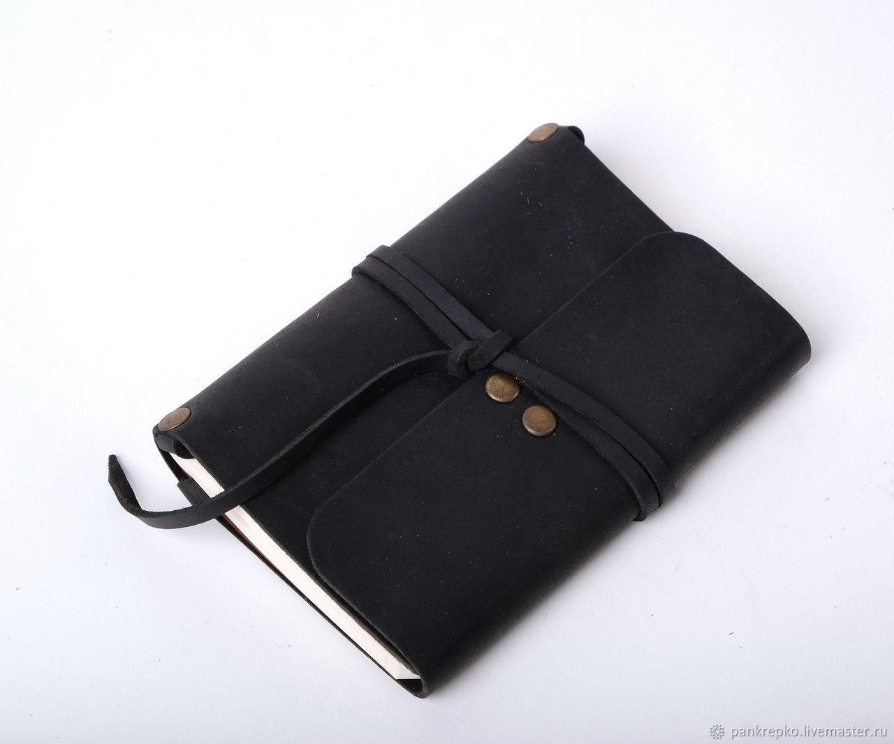Кожаный черный блокнот А6 «Nota6 Black» ручной работы, Блокноты, Львов,  Фото №1