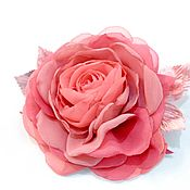 handmade. Livemaster - original item FABRIC FLOWERS. Chiffon rose brooch