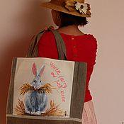 Сумка-мешок ручной работы. Ярмарка Мастеров - ручная работа Сумка-мешок: Белый кролик. Handmade.