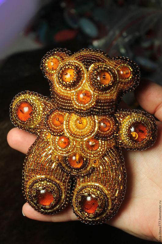 Мишки Тедди ручной работы. Ярмарка Мастеров - ручная работа. Купить янтарный мишка. Handmade. Мишка, янтарь, бисер