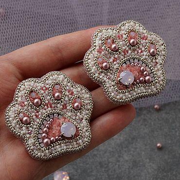 Украшения ручной работы. Ярмарка Мастеров - ручная работа Броши: Парные Лапки розовые. Handmade.