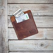 Сумки и аксессуары handmade. Livemaster - original item Easy Brown leather cardholder wallet. Handmade.