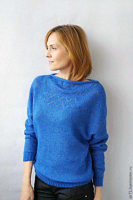 Кофты и свитера ручной работы. Ярмарка Мастеров - ручная работа. Купить Пуловер из мохера с шелком. Handmade. Синий, удобная одежда