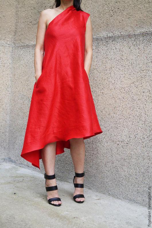 Платья ручной работы. Ярмарка Мастеров - ручная работа. Купить Kрасный кафтан/Летнее платье/F1475. Handmade. Ярко-красный, Платье нарядное