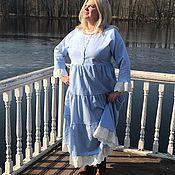 Платья ручной работы. Ярмарка Мастеров - ручная работа Платье в стиле бохо шик «Голубые облака». Handmade.