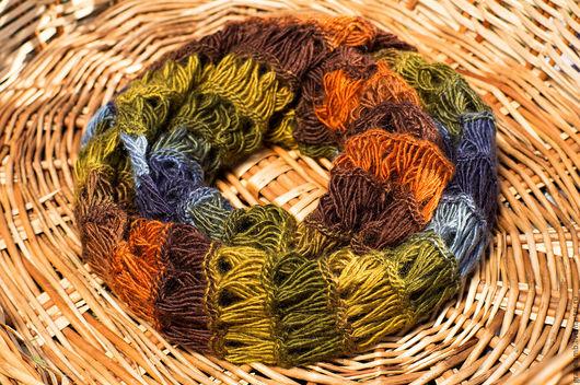 Теплый и оригинальный шарф перуанской вязки `Горный`. Тут и зелень лесов, и синь большого и близкого неба, и переливы горных рек, и благородство мшистого камня...  Цена 3500 рублей.