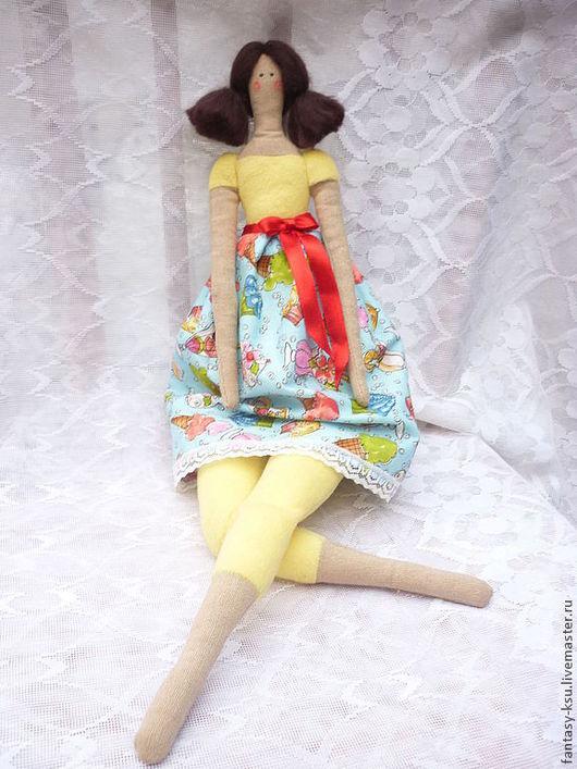 Куклы Тильды ручной работы. Ярмарка Мастеров - ручная работа. Купить Тильда фея пирожного. Handmade. Голубой, лён