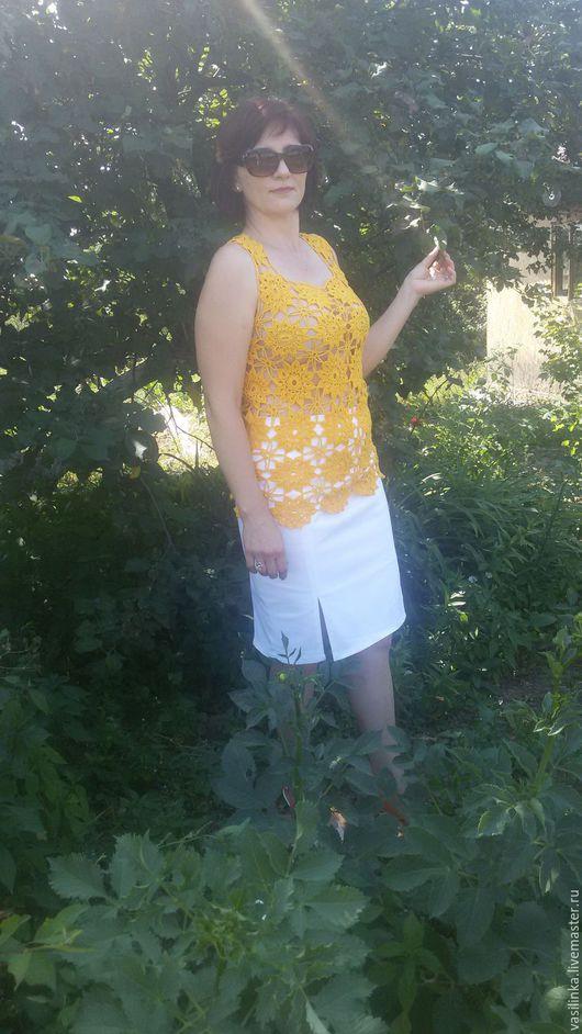 Топы ручной работы. Ярмарка Мастеров - ручная работа. Купить Топ женский Солнечные цветы. Handmade. Желтый, топ летний