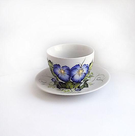 """Сервизы, чайные пары ручной работы. Ярмарка Мастеров - ручная работа. Купить Чайная пара с росписью """" Анютины глазки"""". Handmade."""