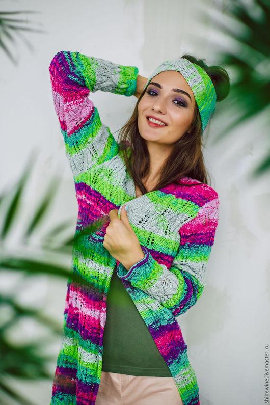 Кофты и свитера ручной работы. Ярмарка Мастеров - ручная работа. Купить Радужный кардиган с повязкой на голову. Handmade. Зеленый