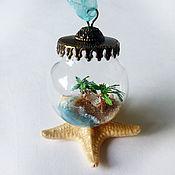 """Украшения ручной работы. Ярмарка Мастеров - ручная работа Кулон сфера с миниатюрой """"Хочу на море!"""" стеклянная бутылочка. Handmade."""