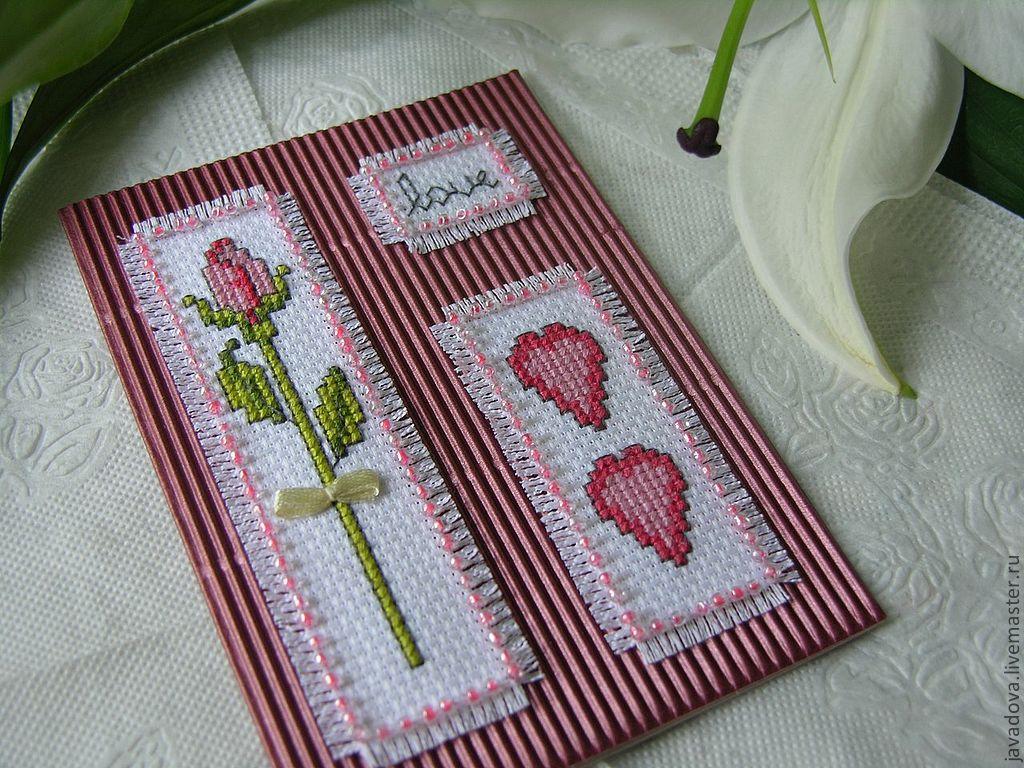 Картинки, вышивка оформленная в открытку