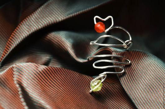 Кольца ручной работы. Ярмарка Мастеров - ручная работа. Купить Кольцо серебряное с агатом и хризолитом Лиса и Змея. Handmade. лиса