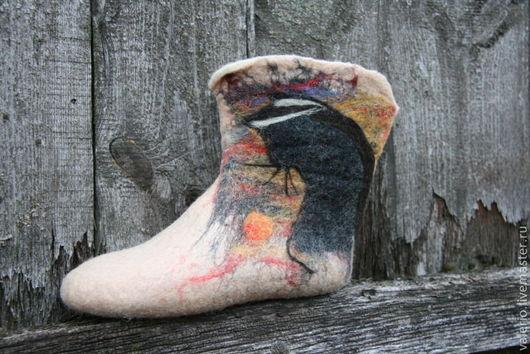 """Обувь ручной работы. Ярмарка Мастеров - ручная работа. Купить Домашние валенки """"Кошка"""". Handmade. Тапки, валенки, шерсть"""