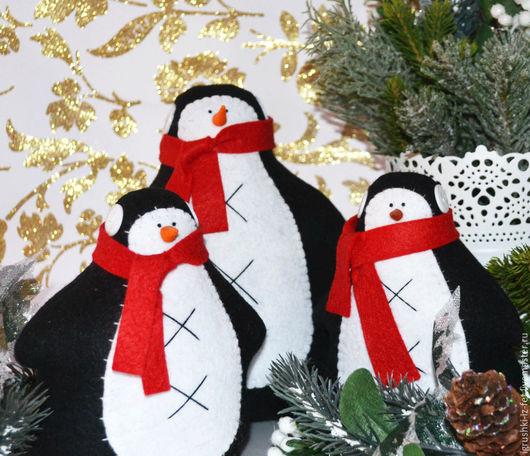 Новый год 2017 ручной работы. Ярмарка Мастеров - ручная работа. Купить Пингвины из фетра. Handmade. Черный, подарок на новый год, подарок