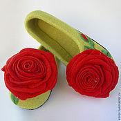 """Обувь ручной работы. Ярмарка Мастеров - ручная работа Валяные тапочки """"Красная роза"""" (женские). Handmade."""