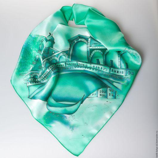 """Шали, палантины ручной работы. Ярмарка Мастеров - ручная работа. Купить Батик шелковый платок """"Путешествие. Венеция изумрудная"""". Handmade."""
