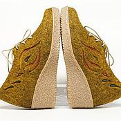 """Обувь ручной работы. Ярмарка Мастеров - ручная работа Валяные туфли """"Золотистые"""". Handmade."""
