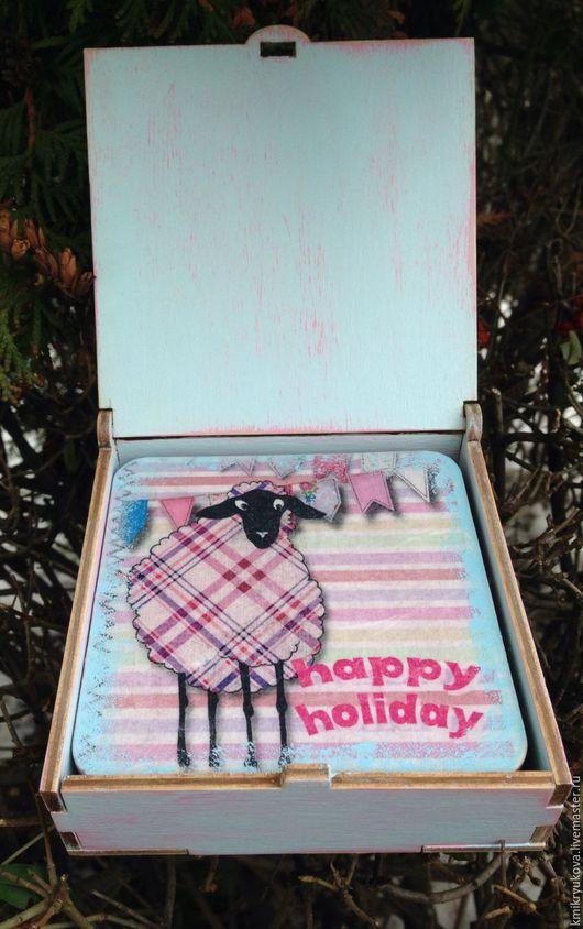 Новый год 2017 ручной работы. Ярмарка Мастеров - ручная работа. Купить Подставки под горячее. Handmade. Розовый, новый год 2016