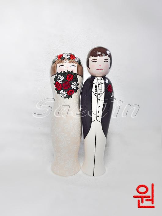 Коллекционные куклы ручной работы. Ярмарка Мастеров - ручная работа. Купить Свадебные куклы kokeshi. Handmade. Белый, оригинальный подарок