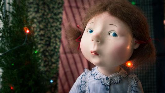 Коллекционные куклы ручной работы. Ярмарка Мастеров - ручная работа. Купить В ожидании Нового года. Handmade. Голубой, трессы