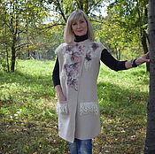 Одежда ручной работы. Ярмарка Мастеров - ручная работа Жилет валяный шерстяной женский бежевый летнее пальто из шерсти. Handmade.