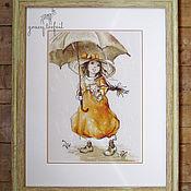 """Картины и панно ручной работы. Ярмарка Мастеров - ручная работа Картина вышивка крестом """"Летний дождь"""". Handmade."""