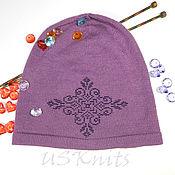 Аксессуары handmade. Livemaster - original item Easy knitted hat (beanie) with beaded ornament. Handmade.