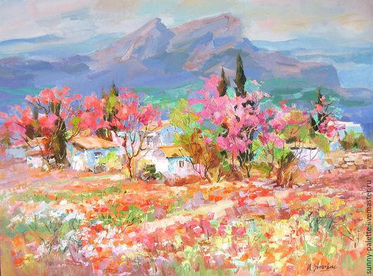 Пейзаж ручной работы. Ярмарка Мастеров - ручная работа. Купить Весна в горах 60x80 Живопись. Handmade. Фуксия, цветущий миндаль