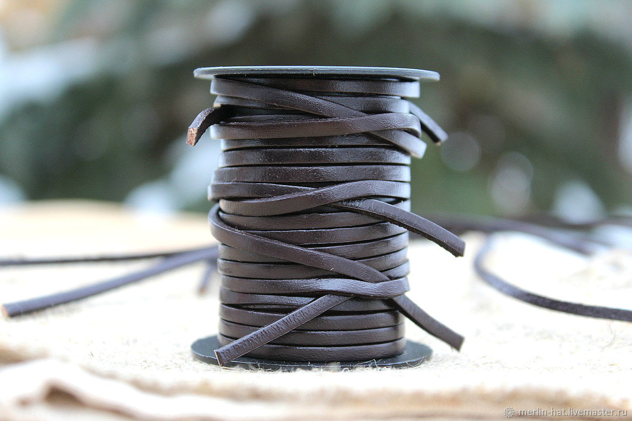 Leather cord square section brown 3h2 mm, Cords, Tambov,  Фото №1