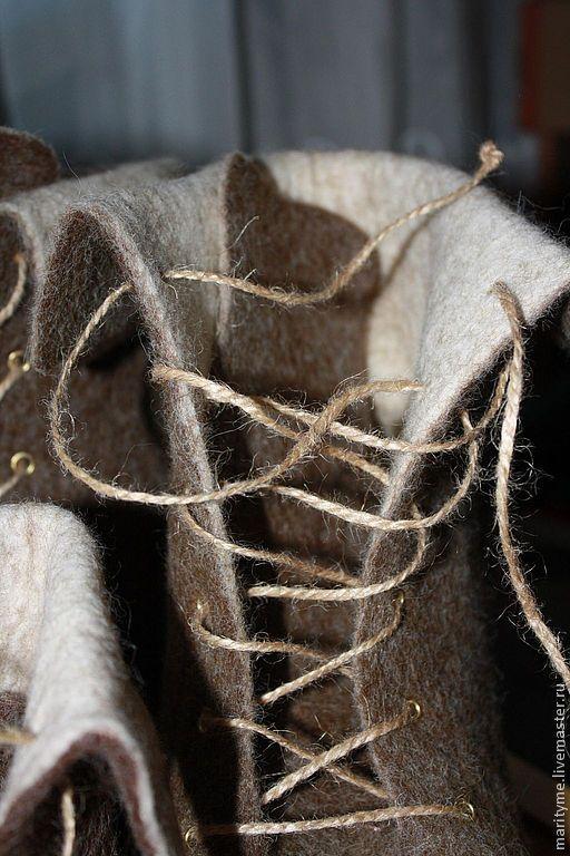 """Обувь ручной работы. Ярмарка Мастеров - ручная работа. Купить Валяные ботинки """"boho style"""". Handmade. Коричневый, подошва"""
