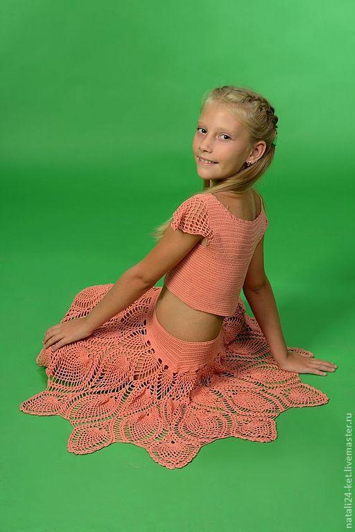 Одежда для девочек, ручной работы. Ярмарка Мастеров - ручная работа. Купить детская юбка и топ. Handmade. Бежевый, топ