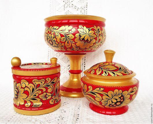 Посуда ручной работы. Ярмарка Мастеров - ручная работа. Купить Набор деревянной посуды с Хохломской роспись. Handmade. Набор посуды