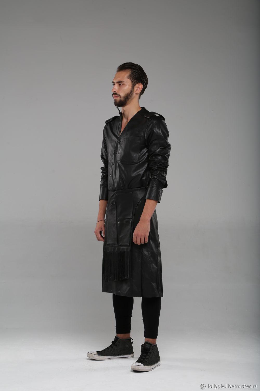 a917f6231c6a2b2 Верхняя одежда ручной работы. Ярмарка Мастеров - ручная работа. Купить Плащ  мужской кожаный черный ...