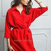 """Одежда ручной работы. Ярмарка Мастеров - ручная работа Свободное платье на каждый день """"Птичка на проводе"""" красного цвета. Handmade."""