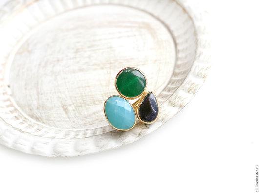 Кольца ручной работы. Ярмарка Мастеров - ручная работа. Купить Кольцо с нефритом голубого и зеленого цветов, темно-синим агатом. Handmade.
