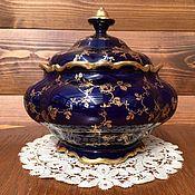 Большая ваза с крышкой, конфетница, бисквитница, Lindner. Кобальт