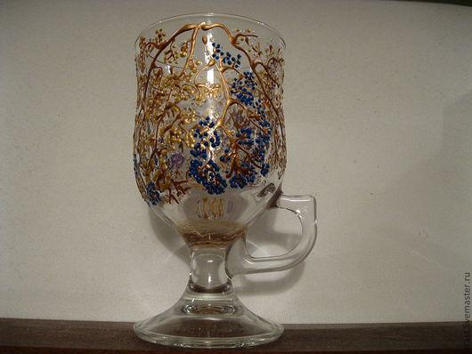 Бокалы, стаканы ручной работы. Ярмарка Мастеров - ручная работа. Купить Бокал  для горячих напитков Золотые незабудки. Handmade. Бокалы