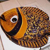 """Посуда ручной работы. Ярмарка Мастеров - ручная работа Тарелочка-фигурная """"Для хорошей рыбки""""- фьюзинг. Handmade."""