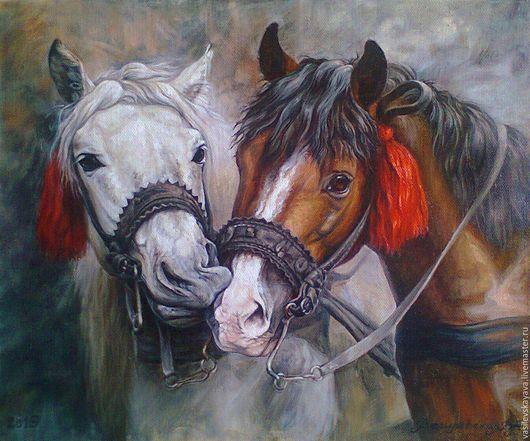 Животные ручной работы. Ярмарка Мастеров - ручная работа. Купить картина маслом Парочка (лошади, живопись на холсте). Handmade. Кони